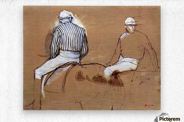 Two jockeys by Degas  Metal print