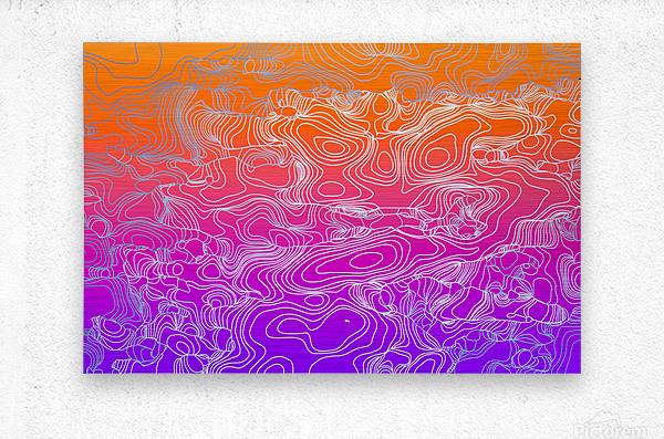 geometric fractal line abstract background in purple orange  Metal print