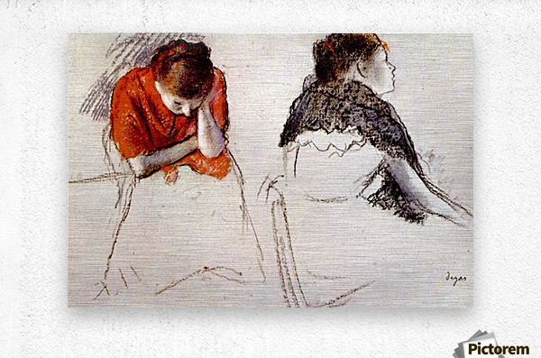 Two women seated by Degas  Metal print