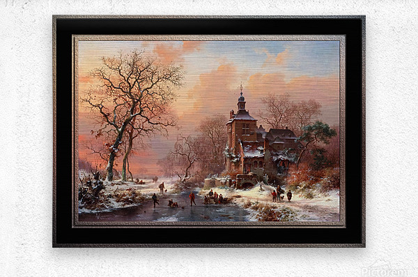 Winter Landscape with Skaters on a Frozen River by Frederik Marinus Kruseman Fine Art Old Masters Reproduction  Metal print