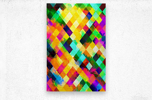 geometric square pixel pattern abstract background in yellow blue green pink orange  Metal print