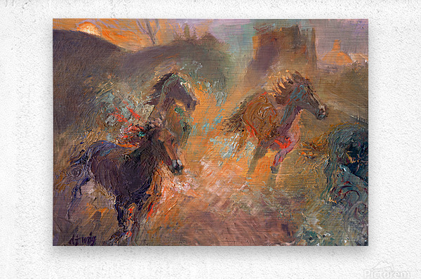 Wild Horses Sun Dust  Metal print
