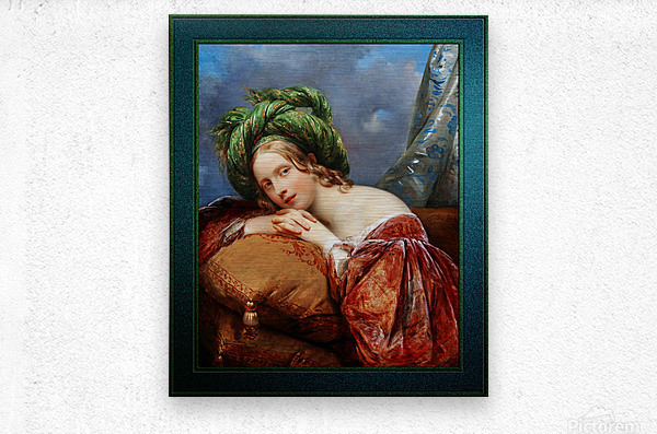 Dame Mit Grunem Turban by Aimee Pages-Brune Classical Fine Art Xzendor7 Old Masters Reproductions  Metal print