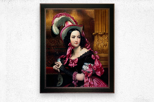The Venetian At The Mask Ball by Joseph-Desire Court Classical Fine Art Xzendor7 Old Masters Reproductions  Metal print