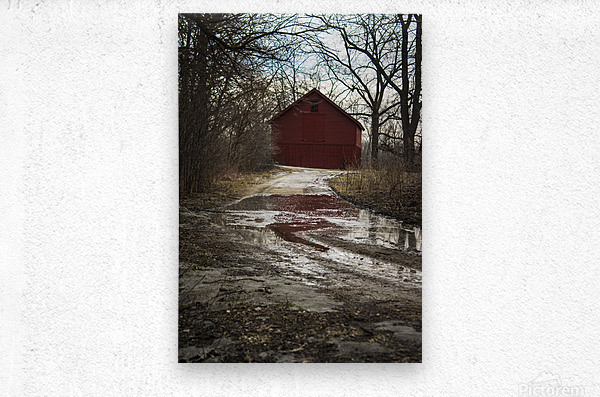Travel to the Red Barn  Metal print