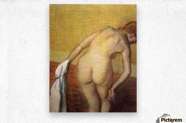 Woman Drying with towel and sponge by Degas  Metal print