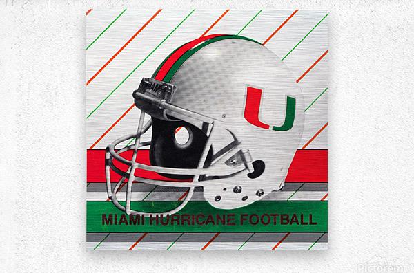 Retro Miami Hurricane Football Helmet Art  Metal print