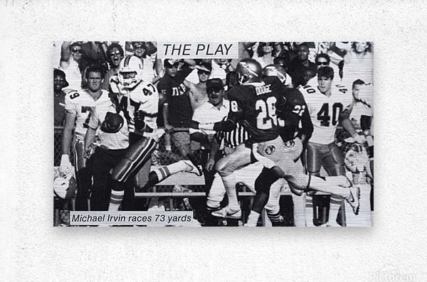 1987 Michael Irvin Miami Football Art  Metal print