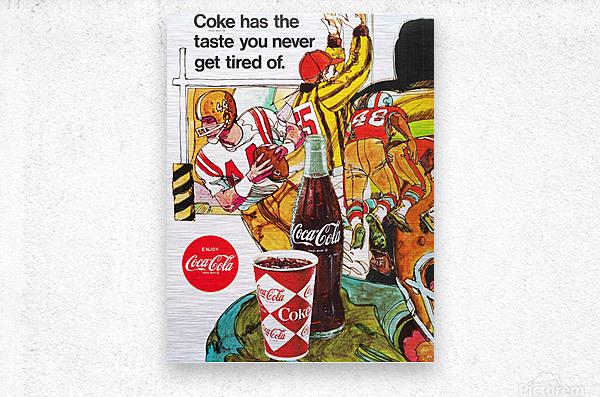 1969 Coke Football Ad Poster  Metal print