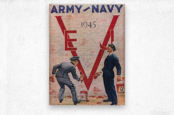1945 Army Navy Football Program Canvas Art  Metal print