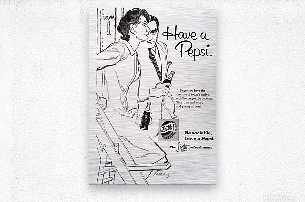 1960 Pepsi Advertisement Poster  Metal print