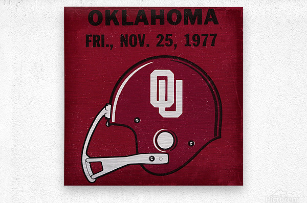1977 Oklahoma Football Ticket Remix Row 1  Metal print