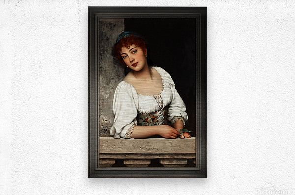 Girl At The Window by Eugen von Blaas Classical Art Xzendor7 Old Masters Reproductions  Metal print