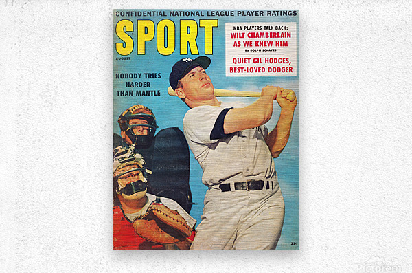 1960 Mickey Mantle Sport Cover Art  Metal print