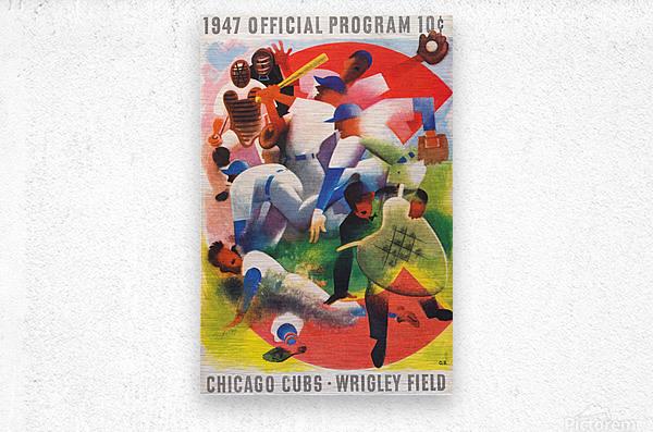1947 Chicago Cubs Program Otis Shepard Art  Metal print