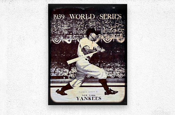 1939 Vintage World Series Program Cover Art Remix by Row 1  Metal print