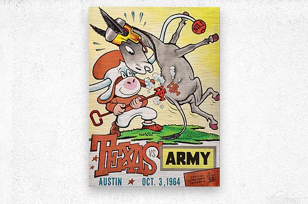 1964 Army vs. Texas Longhorns Football Program Art  Metal print