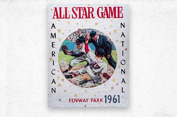 1961 Boston All-Star Game Baseball Program Art  Metal print