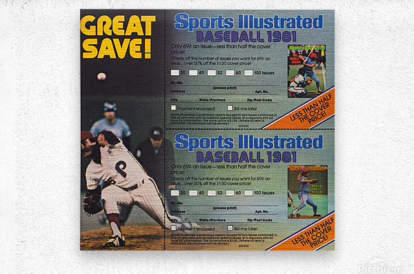 1981 Sports Illustrated Baseball Ad Poster  Metal print
