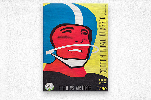 1959 TCU vs. Air Force Football Program Cover Art  Metal print