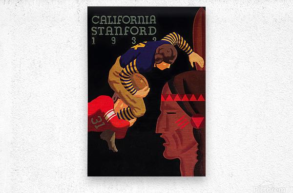 1933 Stanford vs. California Football Program Brushed Metal Art  Metal print