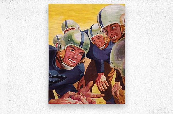 1947 Vintage Football Art Inside the Huddle  Metal print