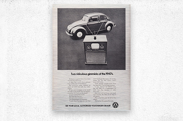 1971 Vintage Volkswagen Car Ad Poster  Metal print