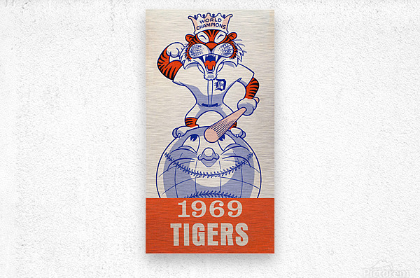 1969 Detroit Tigers Retro Baseball Art  Metal print