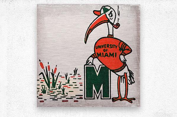 Vintage Fifties Miami Hurricane Art  Metal print