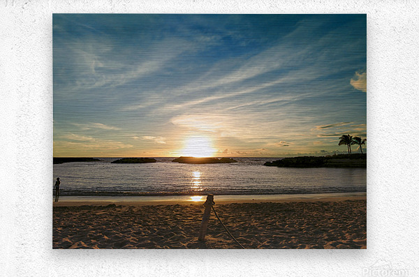 By the Fading Light of the Sun - Tropical Sunset Hawaii  Metal print