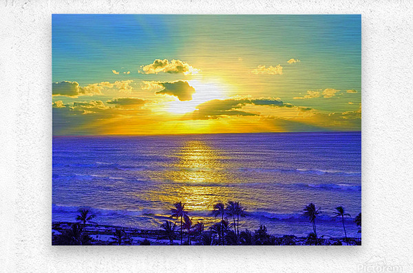 Golden Sunset After the Storm  Metal print