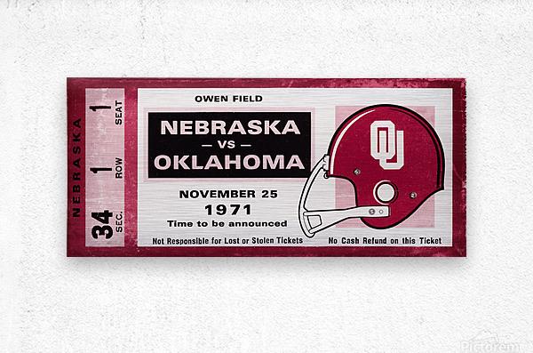 1971 Oklahoma Sooners vs. Nebraska Cornhuskers Remix  Metal print