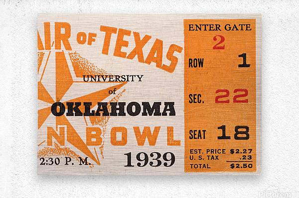 1939 Texas Longhorns vs. Oklahoma Sooners  Metal print