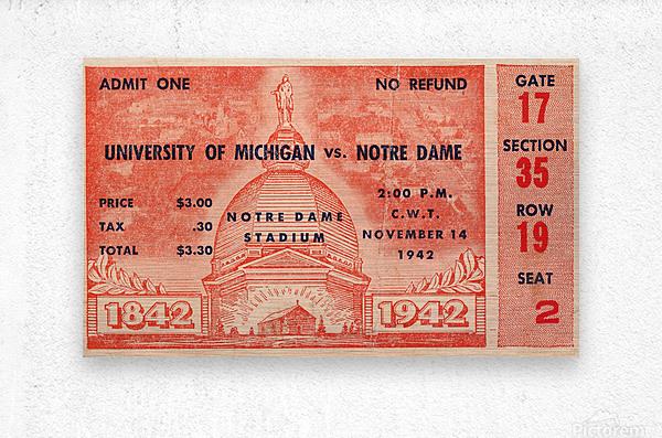 1942 Michigan vs. Notre Dame Football Ticket Stub Art  Metal print