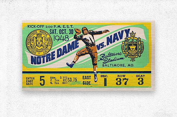 1948 Navy vs. Notre Dame Football Ticket Art  Metal print