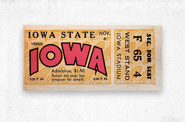 1933 Iowa State vs. Iowa Football Ticket Art  Metal print