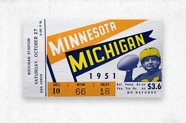 1951 Michigan vs. Minnesota Football Ticket Art  Metal print