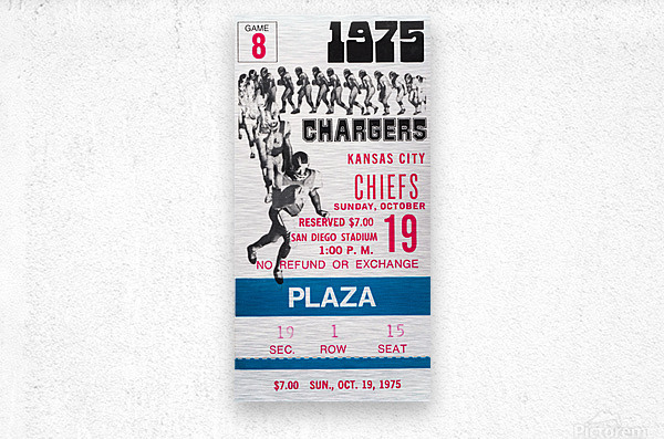 1975 San Diego Chargers Ticket Canvas  Metal print