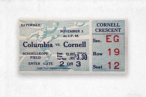 1935 Columbia vs. Cornell Football Ticket Art  Metal print