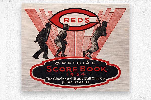 1934 Cincinnati Reds Score Book Metal Sign  Metal print