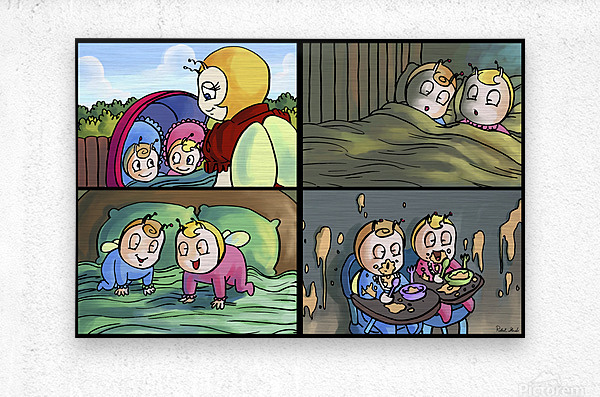 Mom and the Twins - 4 panel Favorites for Kids Room and Nursery - Bugville Critters  Metal print