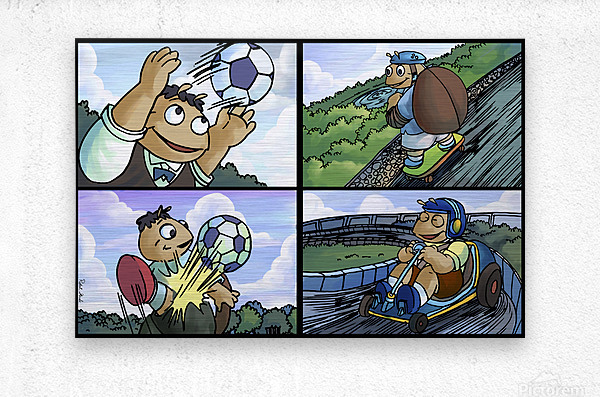 Barry the Beetle in Action   4 panel Favorites for Kids Room and Nursery   Bugville Critters  Metal print