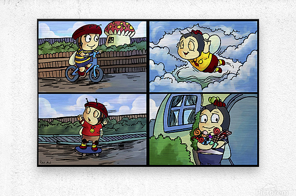 Buster the Bee in Action   4 panel Favorites for Kids Room and Nursery   Bugville Critters  Metal print