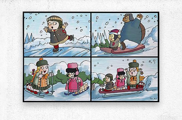 Winter Wonderland Fun   Ice Skating  Sledding and Tobogganing   4 panel Favorites for Kids Room and Nursery   Bugville Critters  Metal print