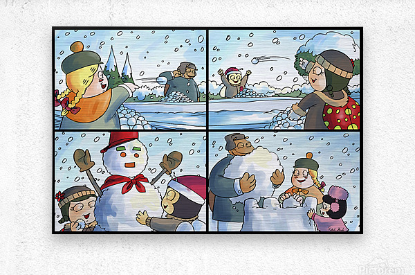 Winter Wonderland Fun   Snowballs  Snowforts and Snowman   4 panel Favorites for Kids Room and Nursery   Bugville Critters  Metal print
