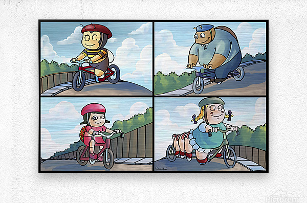Time for a Bike Ride   Best Friends   4 panel Favorites for Kids Room and Nursery   Bugville Critters  Metal print