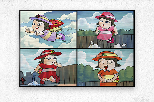 Lass the Ladybug on the Go   4 panel Favorites for Kids Room and Nursery   Bugville Critters  Metal print