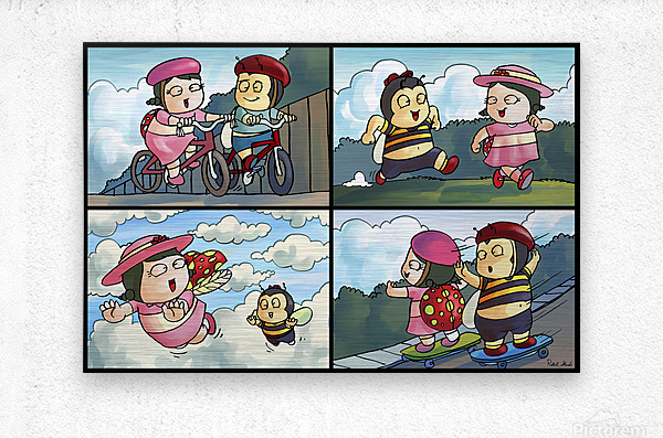 Best Friends at Play   4 panel Favorites for Kids Room and Nursery   Bugville Critters  Metal print