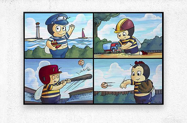 Buster the Bee on the Go   4 panel Favorites for Kids Room and Nursery   Bugville Critters  Metal print