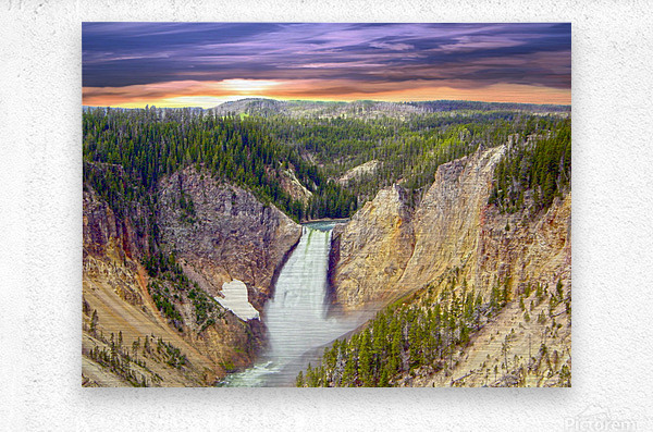 Grand Canyon of Yellowstone - The Falls in the Waning Light of Day - Yellowstone National Park at Sunset  Metal print